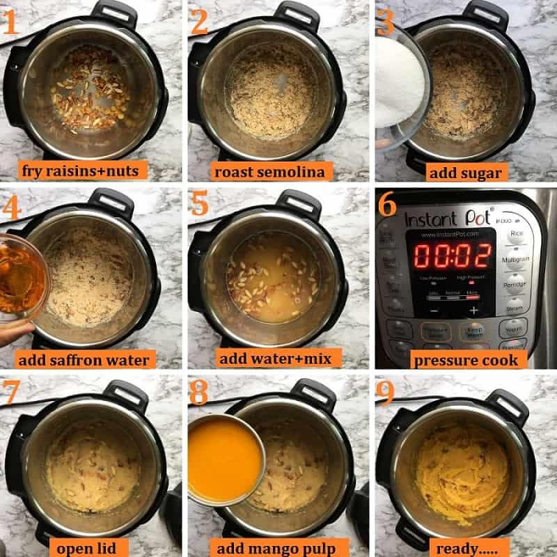 mango kesari or mango sheera in Instant pot step by step