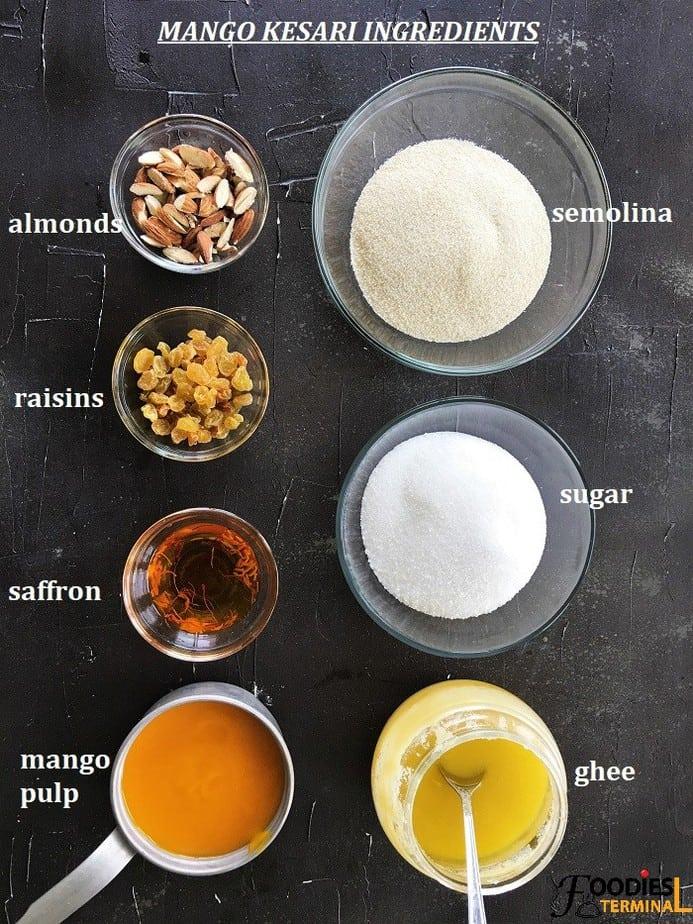 Semolina Pudding Mango sheera ingredients in bowls