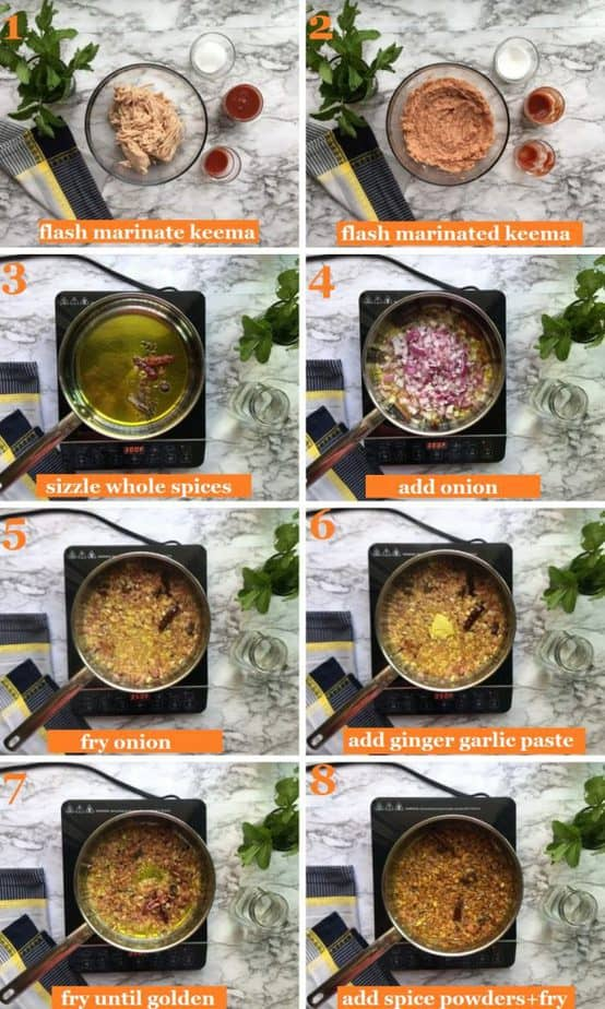 How to make chicken keema curry step by step pics