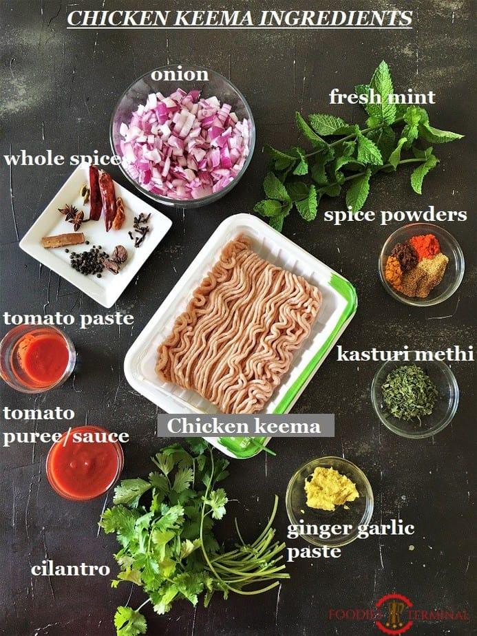 Fresh minced chicken keema recipe ingredients