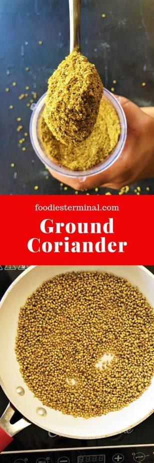 Ground coriander powder recipe made fresh at home from coriander seeds