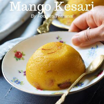 Mango kesari in a white floral plate