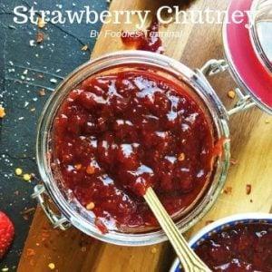 strawberry chutney top videw in a glass jar