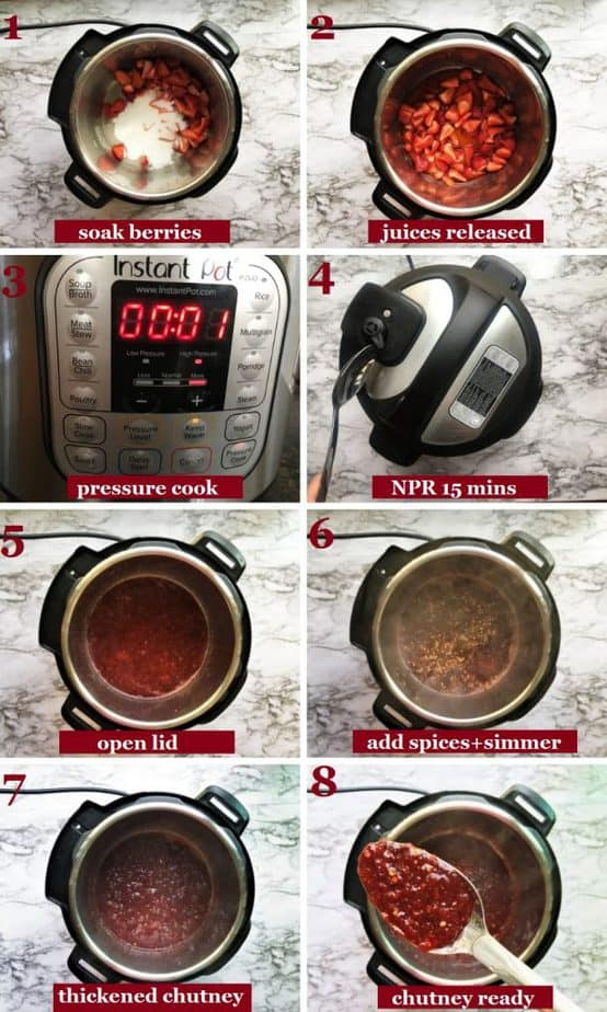 How to make Strawberry Chutney in an Instant Pot step by step