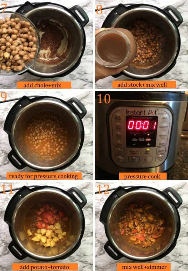 Instant pot vegetarian aloo chole step by step