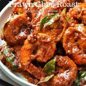 Prawn ghee roast cooked with jumbo prawns