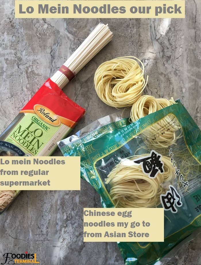 Lo mein noodle varieties in packets on a grey board