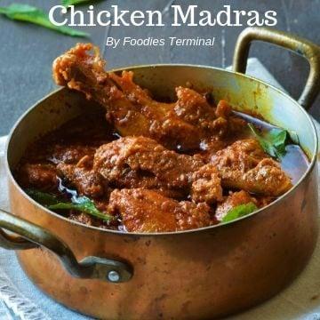 Chicken Madras in a copper pot