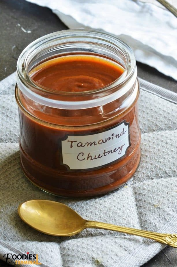 Meethi Imli ki chutney in a glass jar