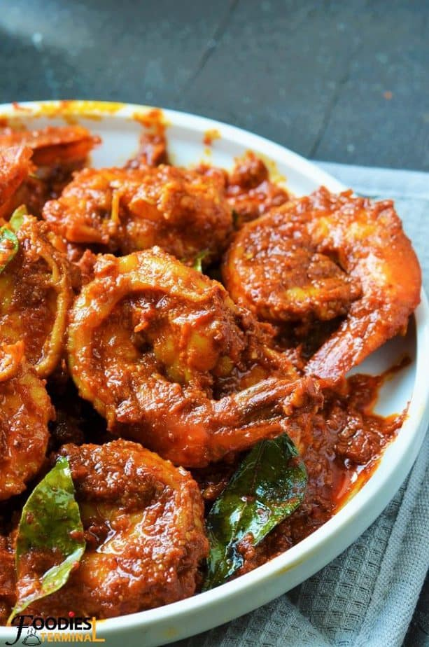 Prawn ghee roast mangalorean style with curry leaves