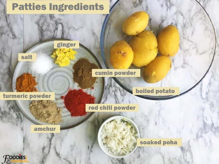 Potato patties ingredients in bowl & plate