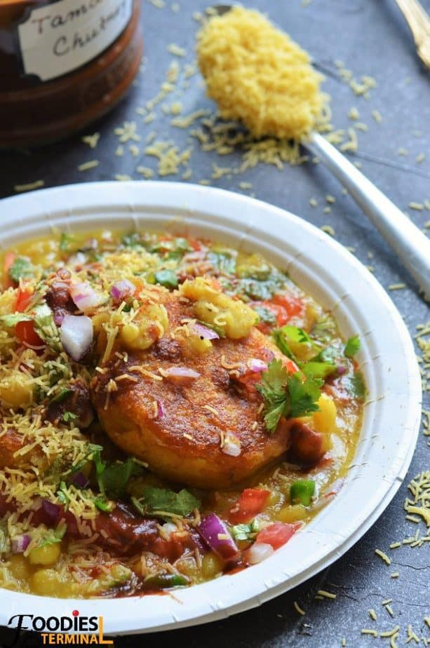 Homemade Ragda Patties just like Mumbai closeup shot