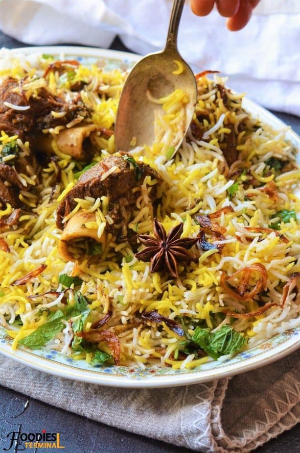 Spicy Mutton biryani with star anise on the plate