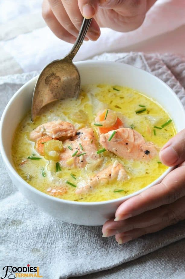 Salmon Chowder recipe Seattle style being enjoyed from a bowl