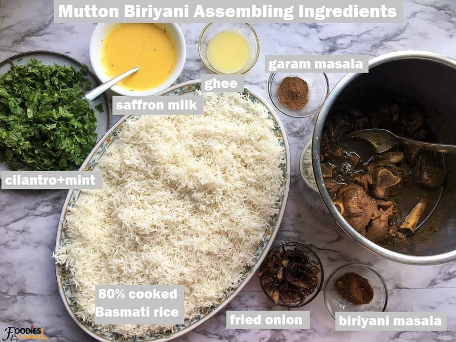 Ingredients required to assemble a traditional mutton biryani