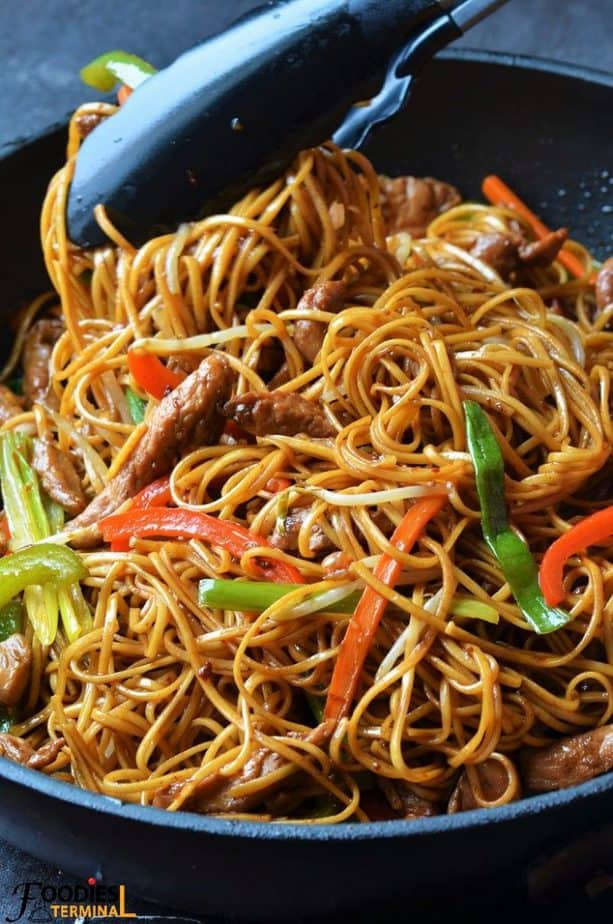 Authentic chicken lo mein recipe in a non stick skillet