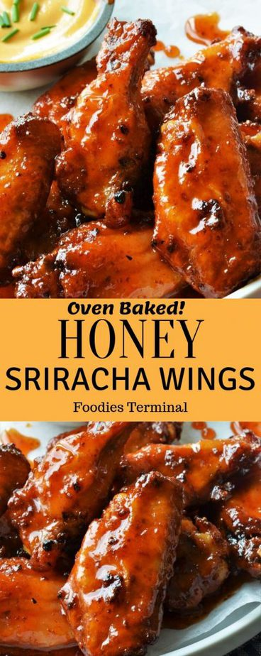 Best Honey Sriracha chicken wings recipe collage
