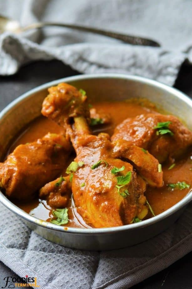 Quick Chicken drumstick curry recipe in a metal plate