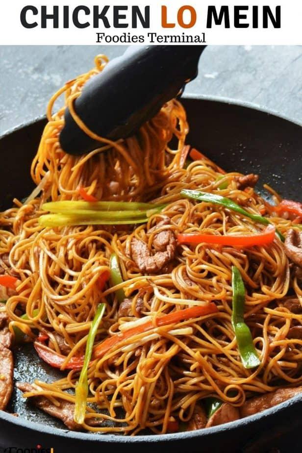Easy Chicken Lo Mein recipe in a black non stick skillet