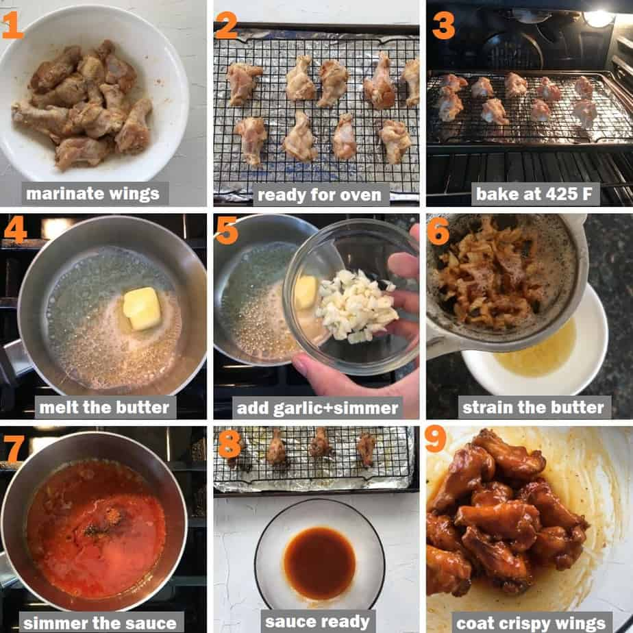 Step by step method of making crispy baked spicy garlic wings