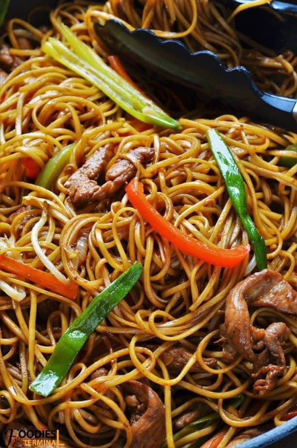 Spicy chicken lo mein close up view
