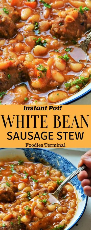 great northern beans and sausage stew recipe collage
