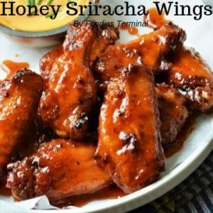 Crispy baked honey sriracha wings
