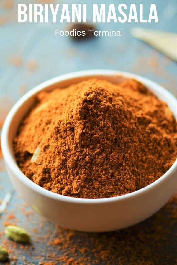 Biryani Masala Powder for chicken Biryani in a small pot