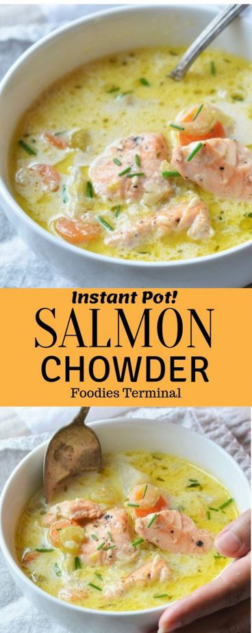 Instant Pot Salmon Chowder Recipe picture collage
