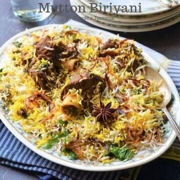 Mutton Biryani in an oval plate
