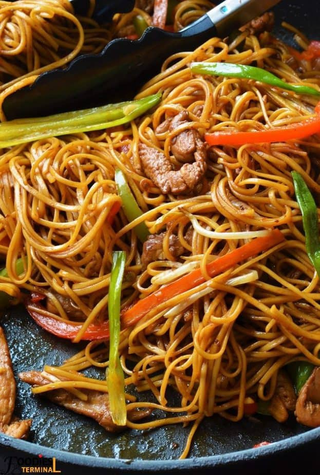 Easy Chicken Lo Mein recipe with lots of veggies
