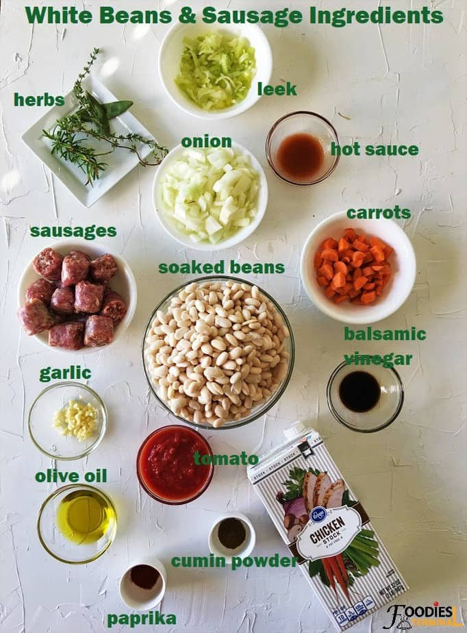 Sausage and beans recipe ingredients in bowls