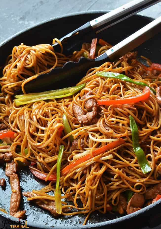 Authentic Chicken Lo Mein Recipe on a black skillet