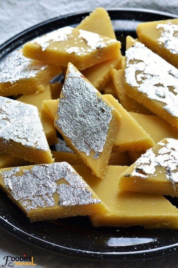 Badam Burfi with Almond flour topped with chandi ka vark