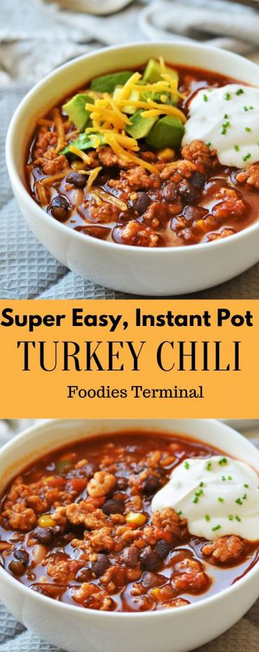 Turkey black bean corn chili with cream on top Pin Image