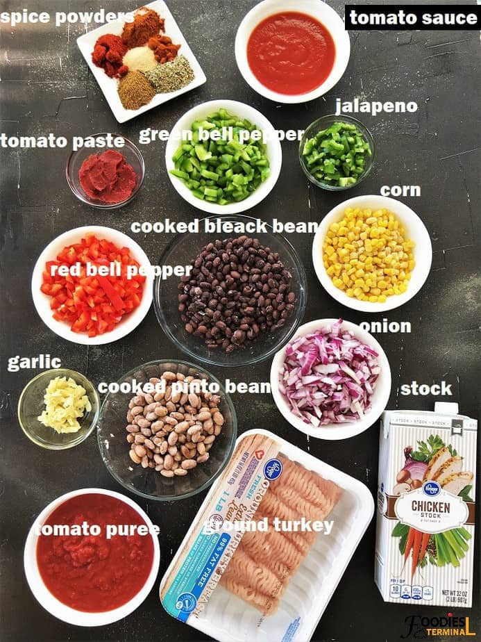 Instant pot turkey bean chili ingredients in bowls on a black surface