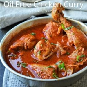 Oil Free Chicken curry cooked with chicken on bones