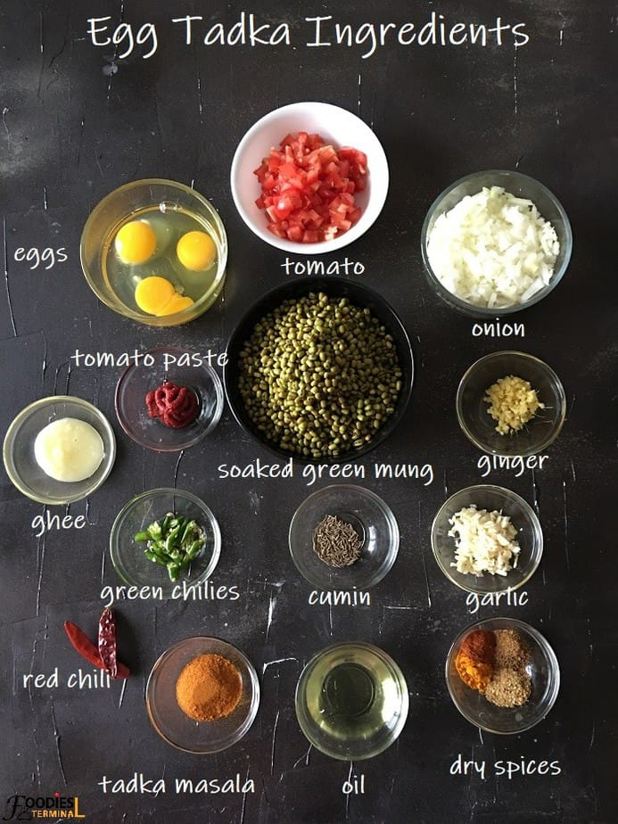 Recipe Ingredients in small bowls on black surface