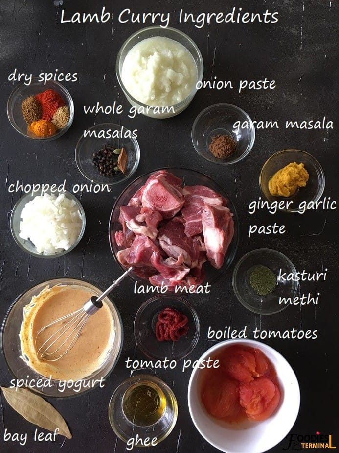 Instant Pot Lamb Curry ingredients in bowls