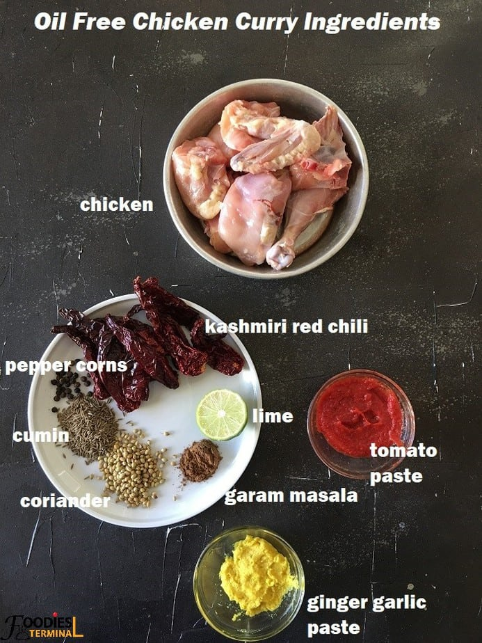 Oil Free Chicken Curry Ingredients