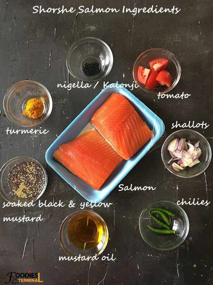 Shorshe Salmon jhal ingredients in bowls
