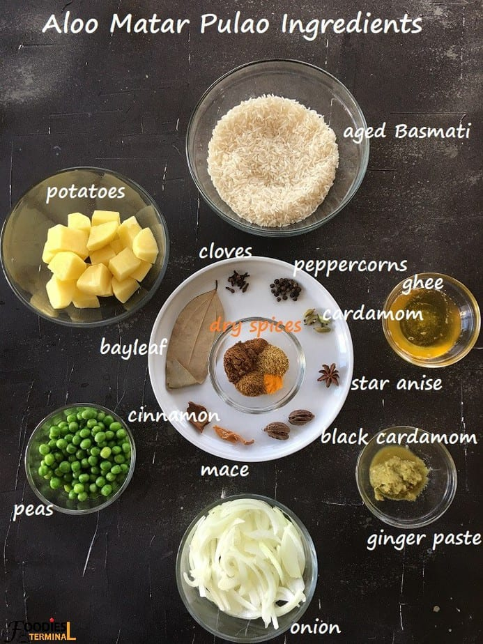 Aloo Matar Pulav ingredients