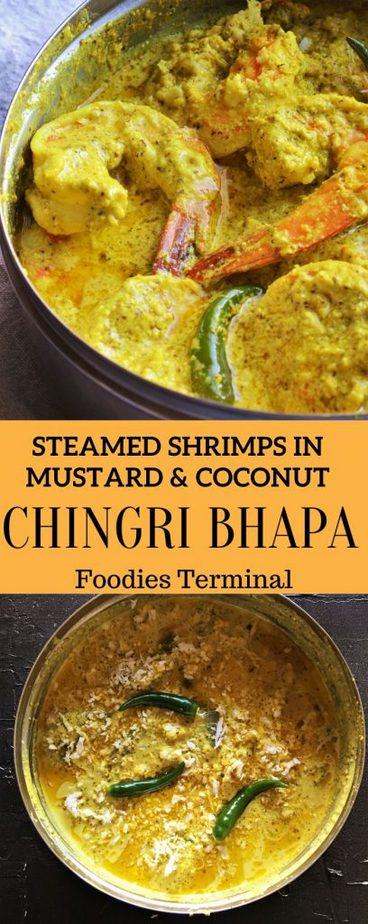 Bhapa chingri with shorshe, posto, narkel