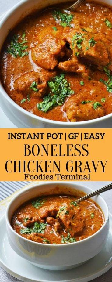 Almond boneless chicken gravy recipe made in instant pot