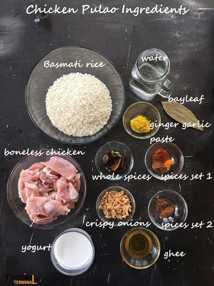 Chicken Pulao Instant Pot ingredients in bowls