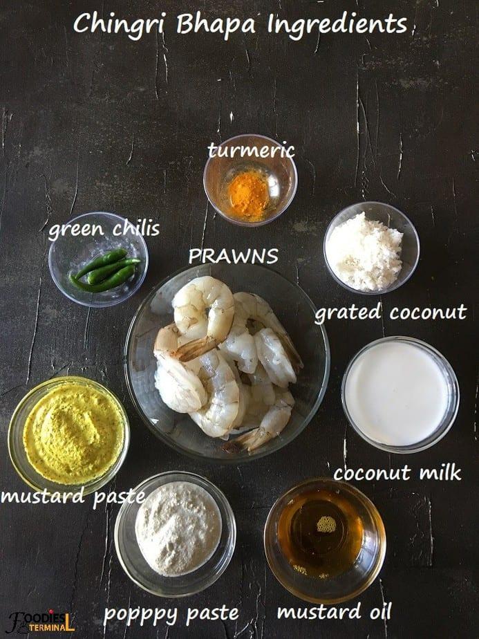 Posto shorshe Bhapa prawns ingredients in bowls