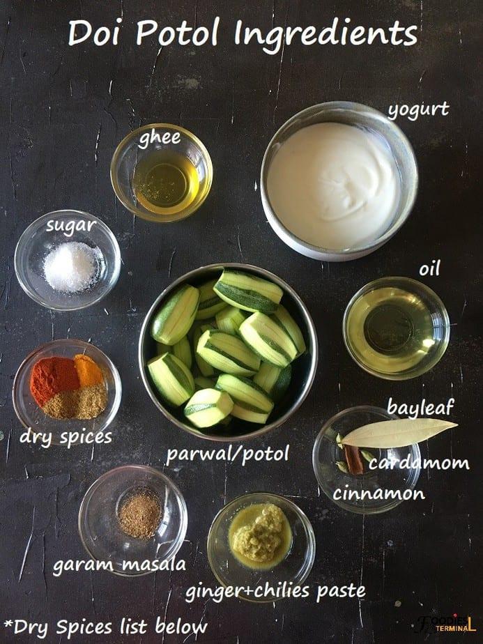 Dahi parwal ingredients in bowls