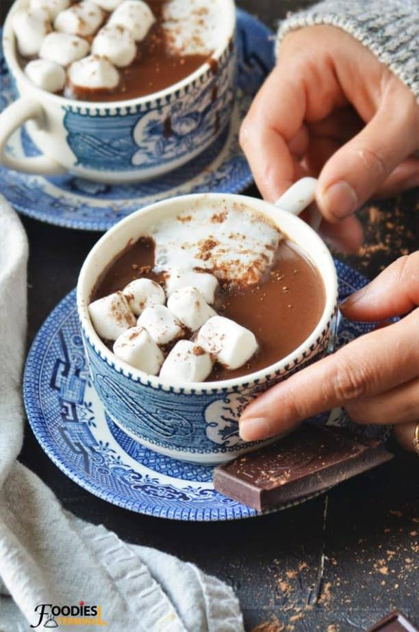 Instant Pot hot chocolate served in cups with marshmallows