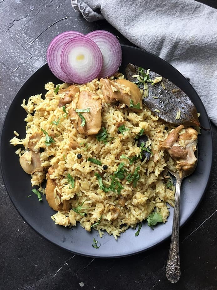 Instant Pot Chicken Pulao cooked with boneless chicken