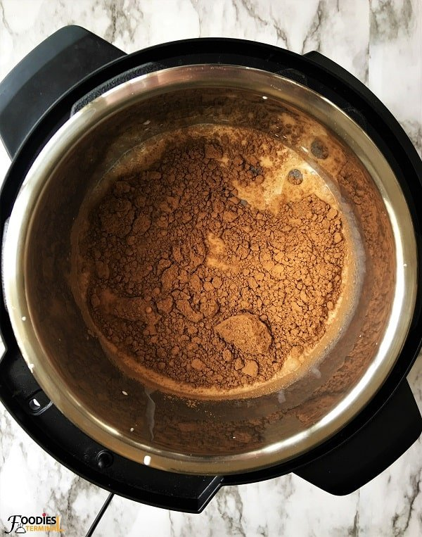 Pressure cooker hot chocolate with cocoa powder
